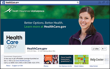 The official Facebook page for Healthcare.gov (Screenshot)