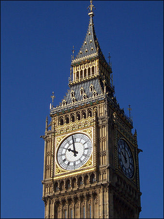 Big Ben, the clock at the north end of the Palace of Westminster in London, England (Photo: Public Domain)