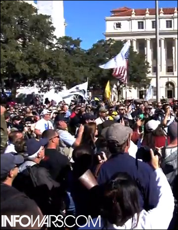 Just one section of the Open Carry Rally crowd at the Alamo, which was estimated at nearly 1,500 people.