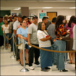 An unemployment line in California.
