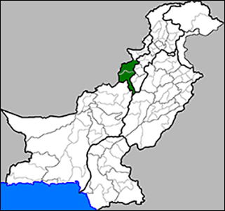 Pakistan with the Waziristan region, where the drone strikes occurred, in green.  (Credit: Narayanese via Wikimedia)