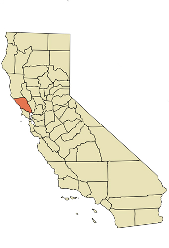 Location of Sonoma Co., Califorina.  Credit: Arkyan via Wikimedia