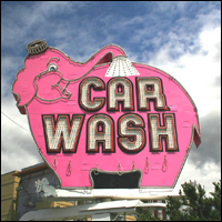 A 1950s car wash sign. Credit: Roger Ward via Flickr