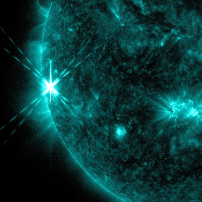 NASA's Solar Dynamics Observatory captured this image of an X1.7 class flare on Oct. 25, 2013. The image shows light in the 131-angstrom wavelength, which is good for seeing material at the intense temperatures of a solar flare, and which is typically colorized in teal. / Image Credit: NASA/SDO