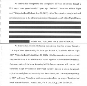 "Redaction shows TSA is aware explosives on airplanes ""are extremely rare.' (click to enlarge)"