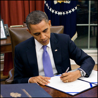 Obama signing legislation that is likely unconstitutional.