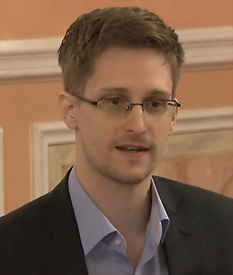 Edward Snowden during a recent presentation in Moscow.  Credit: McZusatz via Wikimedia