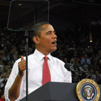 Obama's lies regularly come behind a teleprompter. Credit: borman818 via Flickr