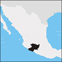 The location of Michoacán, in black, within Mexico.
