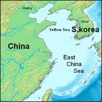 The East China Sea is just southwest of South Korea. Credit: Map-fan via Wikipedia