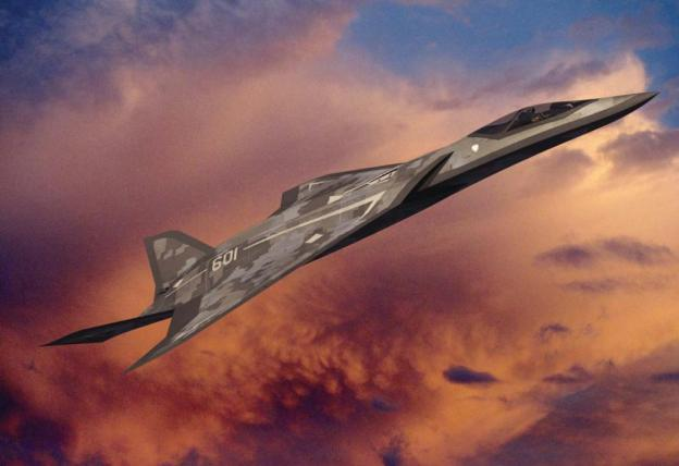 This is a Lockheed Martin concept for a sixth-generation concept aircraft to replace the F-22 Raptor. The Air Force released a request to arm its next generation fighters with offensive lasers. Lockheed Martin Illustration