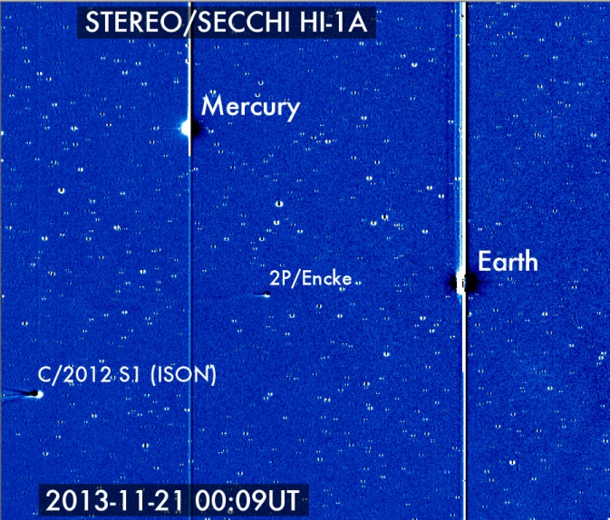 Comet ISON entered the view of NASA's Solar Terrestrial Relations Observatory on Nov. 21, 2013, where it can be seen with Earth, Mercury and comet 2P/Encke. Image Credit:  Karl Battams/NASA/STEREO/CIOC