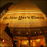 The New York Times building at night. Credit: alextorrenegra via Flickr