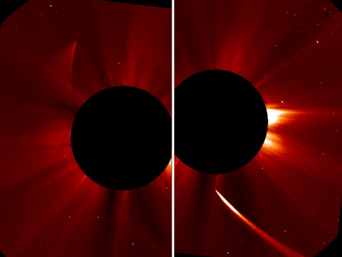 Another view from SOHO's C2 chronograph shows Comet ISON appearing bright as it streams toward the sun (right). it can be seen as a dim streak heading upward and out in the left image. The comet may still be intact. / Image Credit: ESA/NASA/SOHO/Jhelioviewer