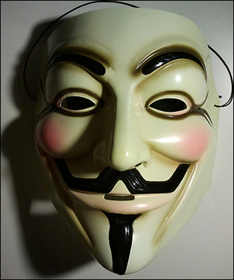 A symbol of resistance, the Guy Fawkes mask protects the wearer's identity from future political retaliation. Credit: Kigsz via Wikimedia