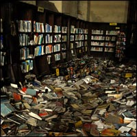 Books were just left behind in the library of an abandoned school in Detroit. Credit: nitram242 via Flickr