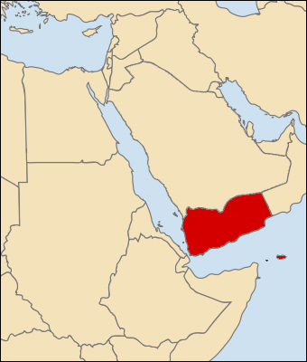 Yemen, in red, is just south of Saudi Arabia.  The country was unified in 1990.
