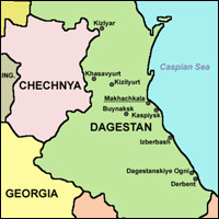 Dagestan, shown in relation to Chechnya, is a federal subject of Russia.
