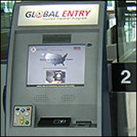 A Global Entry biometric kiosk at the airport.