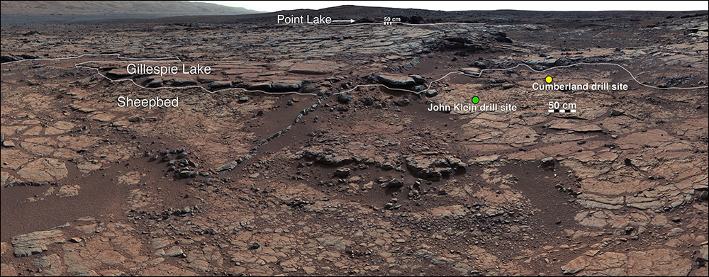 "This mosaic of images from Curiosity's Mast Camera (Mastcam) shows geological members of the Yellowknife Bay formation, and the sites where Curiosity drilled into the lowest-lying member, called Sheepbed, at targets ""John Klein"" and ""Cumberland."" / Image Credit: NASA/JPL-Caltech/MSSS"