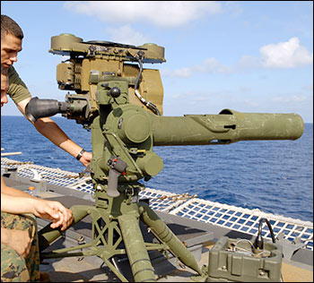BGM-71 tube-launched, optically tracked, wire-guided missile weapons system. Photo: U.S. Navy
