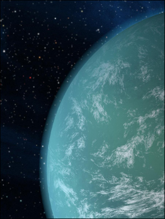 An artist's rendition of Kepler-22b, an exoplanet confirmed in 2011.