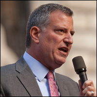 New York City's new mayor, Bill de Blasio, restricted media access to his inauguration much like how Dallas mayor Mike Rawlings restricted access to the JFK anniversary this past November.