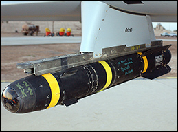 An AGM-114 Hellfire missile mounted on a Predator drone.
