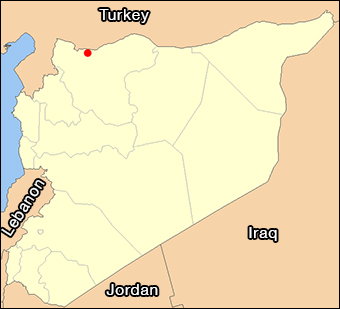 The red dot shows the approximate location of Tel Abiad, which is on the shared border of Turkey and Syria.  Base image: NordNordWest via Wiki