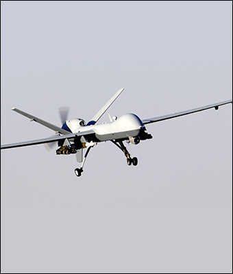 A MQ-9 Reaper drone, the type of which is commonly used in drone strikes overseas.