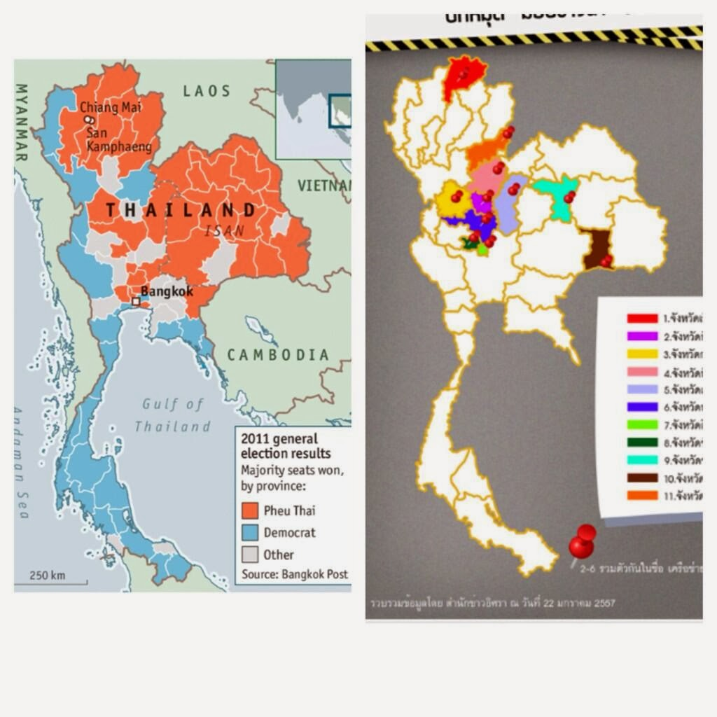 "Image: (left) 2011's election results showing most, but not all northern provinces under Thaksin Shinawatra's proxy regime in red. (right) Provinces where rice farmers are now blocking roads in protest to Thaksin's vote-buying rice scam that has collapsed in bankruptcy and scandal - dousing the absurd ""secession"" theory floated by the Economist and others."