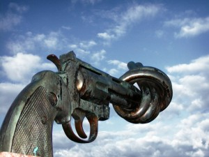 Knotted gun sculpture at United Nations Headquaters in New York City, NY, USA