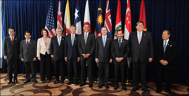 Leaders of TPP member states and prospective member states at a TPP summit.
