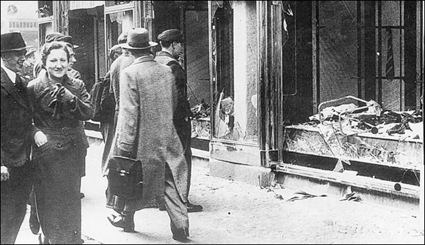 Kristallnacht was a pogrom carried out by Nazi paramilitaries and racist German civilians who targeted Jewish stores and synagogues.