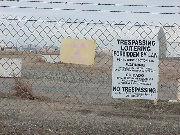 """The surfer's beach area needs a sign similar to the one we encountered at Mclellan Air Force Base that reads """"Radioactive Materials."""""""