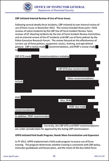 Department of Homeland Security Censors Report On Deadly Force redacted
