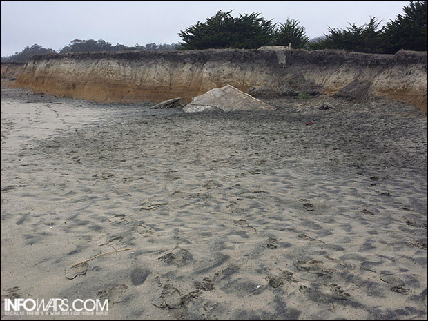 Section of beach near bluff possessed unusually high radiation.