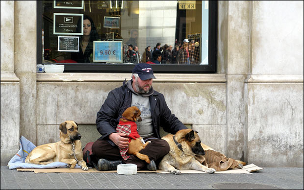 A homeless Spaniard takes care of his three dogs, who were likely strays.  A long line of people can be see in the reflection on the window.  Credit: Fran Urbano via Flickr