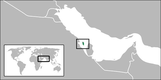 The location of Bahrain within the Persian Gulf.
