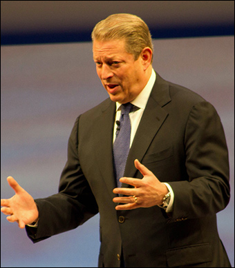 In 2008, the poster boy of the global warming agenda, Al Gore, declared that the Arctic's summer ice would have disappeared by now. Credit: Tktru / Wiki