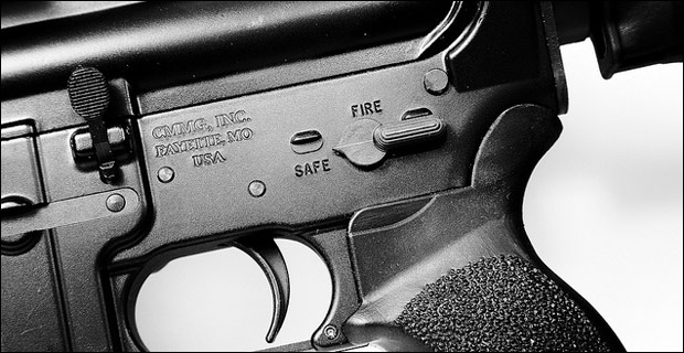 The lower receiver of an AR-15, which can take an almost limitless amount of accessories. Credit: robscomputer / Flickr