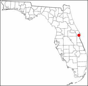 The location of Cocoa, Florida indicated in red.  The city has a crime rate about three times higher than the national average.