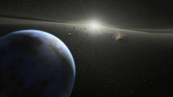 This NASA image shows an artist's animation that illustrates a massive asteroid belt (AFP Photo / NASA / JPL Caltech)