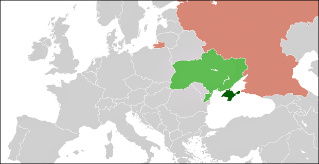 A map of Eurasia with Ukraine highlighted in green, Crimea highlighted in dark green and Russia highlighted in salmon. (Schwarzorange / Wiki)
