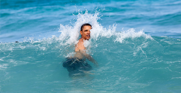 When he's not on a golf course, Obama likes to spend time on the beach.