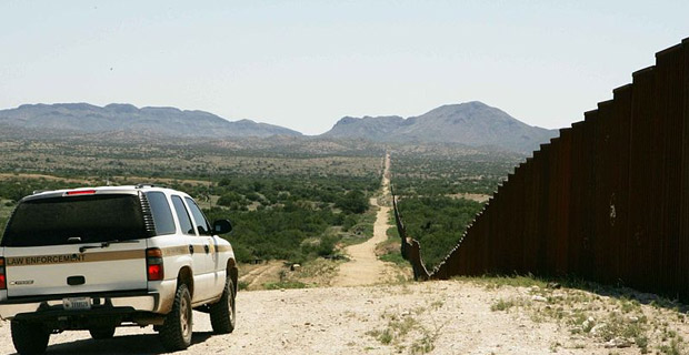 Border patrol car patrolling on border