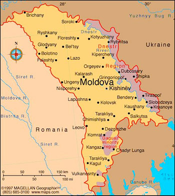 Transnistria borders Ukraine to the east and Gagauzia to the south. Illustration: Magellan Geographix