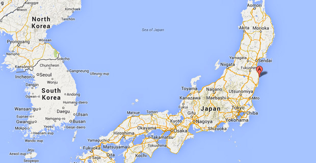 Location of Fukushima-Daiichi nuclear power plant / Image: Google Maps