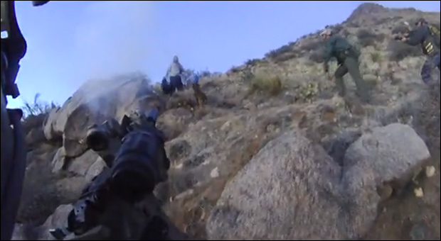 "Screen capture from helmet cam footage shows Call of Duty-style POV, and similar military tactics used to engage non-violent ""threat."""