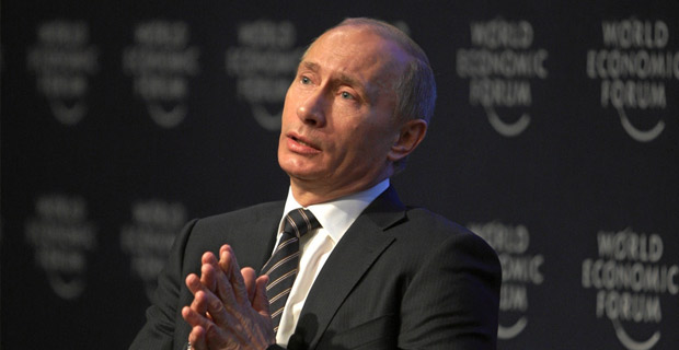 Vladimir Putin, Prime Minister of the Russian Federation talks to the participants of the 'Private Meeting of the Members of the International Business Council with Vladimir Putin' at the Annual Meeting 2009 of the World Economic Forum in Davos, Switzerland, January 29, 2009. / Copyright by World Economic Forum / Photo by Sebastian Derungs